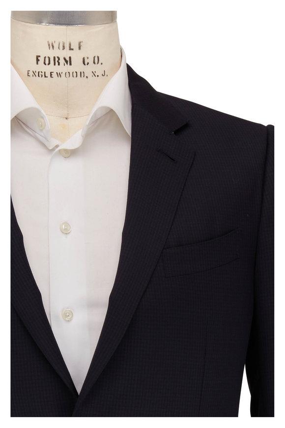Ermenegildo Zegna Multiseason Navy Blue Micro Check Wool Suit