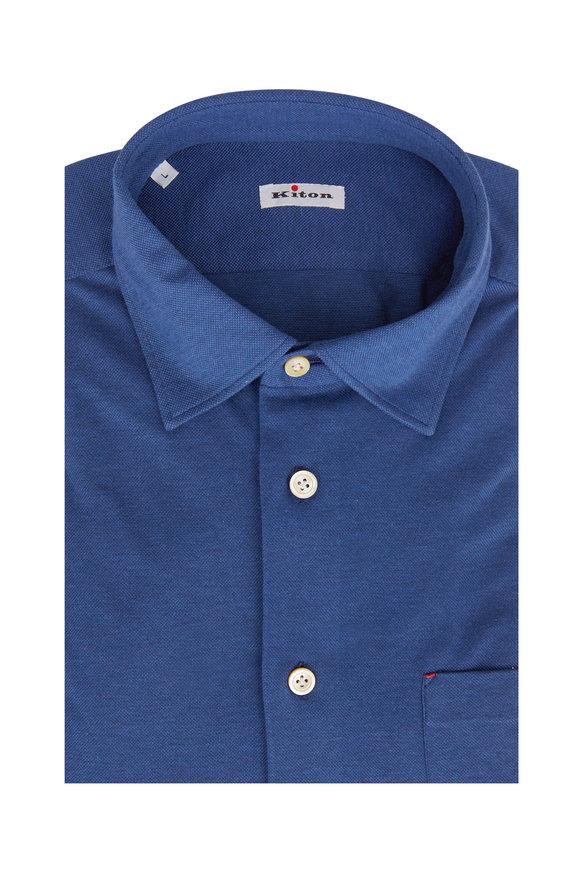 Kiton Royal Blue Knit Pocket Sport Shirt