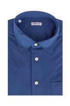 Kiton - Royal Blue Knit Pocket Sport Shirt