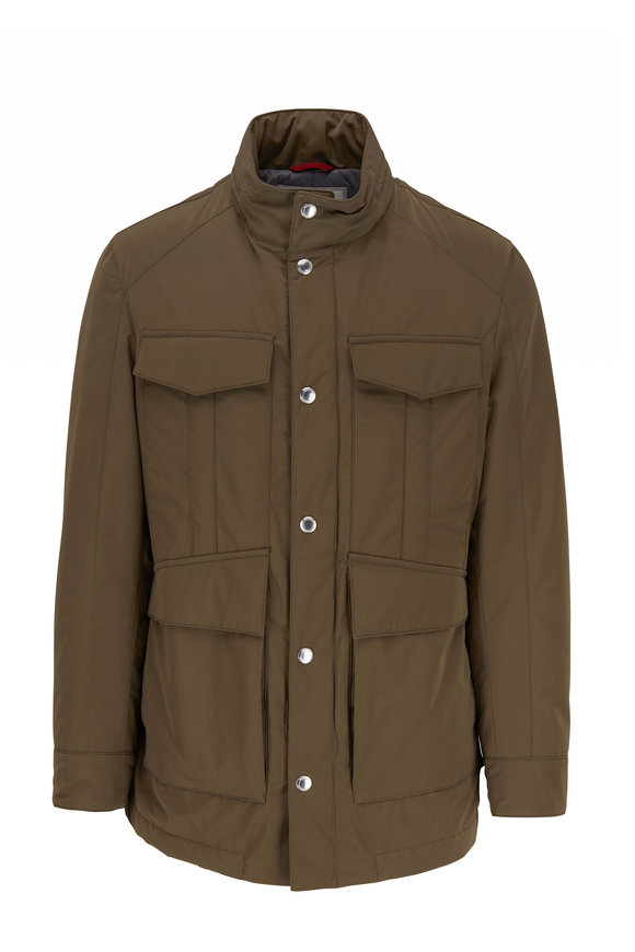 Brunello Cucinelli Olive Four-Pocket Safari Jacket
