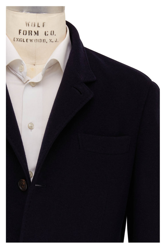 Brunello Cucinelli Navy Blue Cashmere Jacket