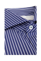 Brunello Cucinelli - Navy Blue Striped Basic Fit Sport Shirt