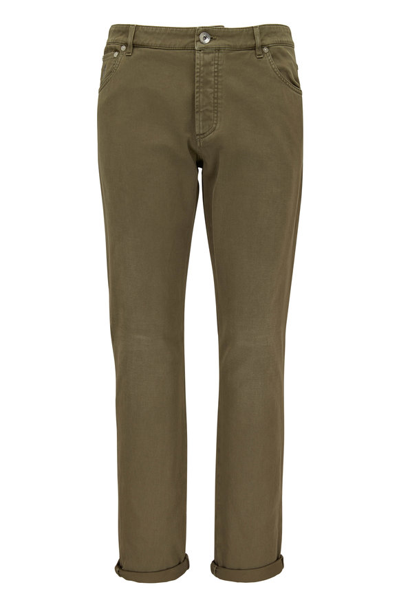 Brunello Cucinelli Olive Five Pocket Skinny Fit Jean
