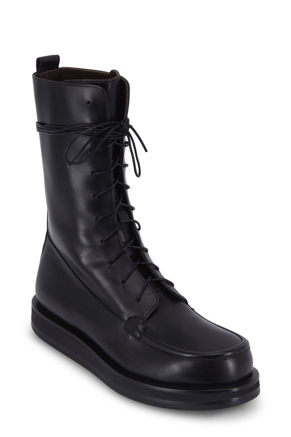 The Row Patty Black Leather Combat Boot