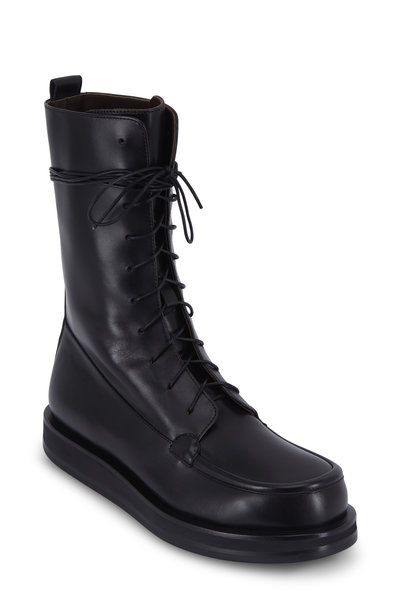 The Row - Patty Black Leather Combat Boot