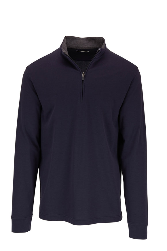 Vastrm Navy Tech Jersey Quarter-Zip Pullover