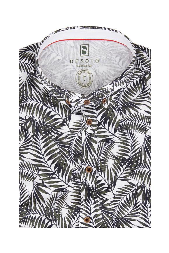 Desoto Green Tropical Leaf Short Sleeve Sport Shirt