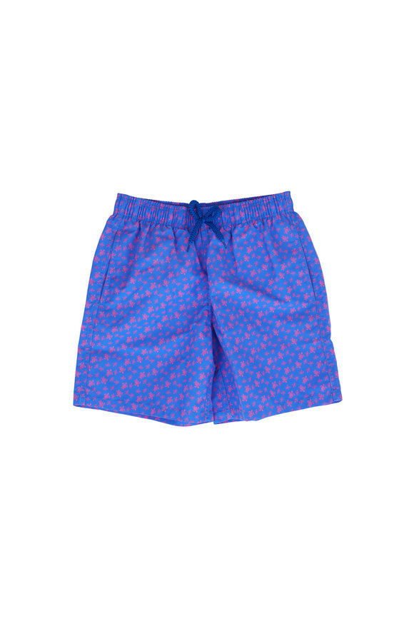 Vilebrequin Boys Blue Micro Ronde Des Tortues Swim Trunks