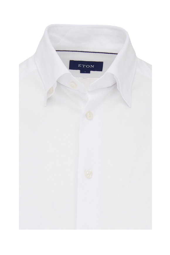 Eton Solid White Pique Knit Sport Shirt