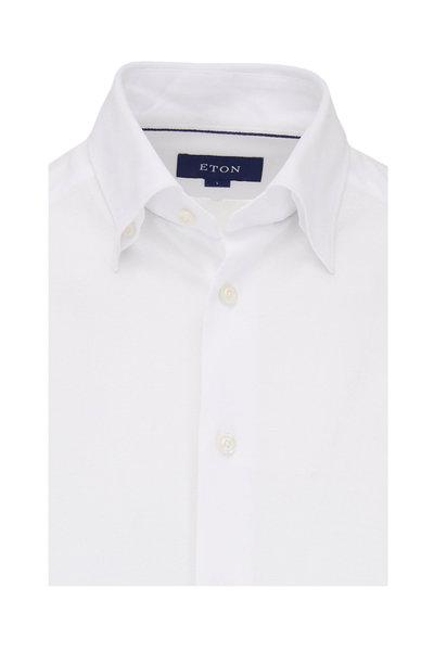 Eton - Solid White Pique Knit Sport Shirt