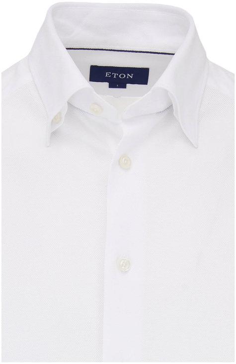 Eton Solid White Pique Knit Sport Shirt