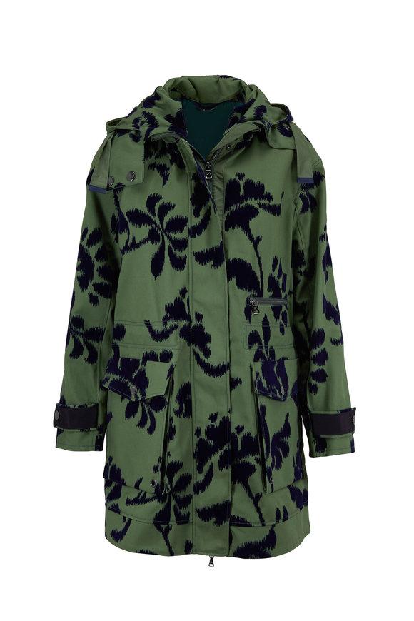 Bogner Rena Flocked Green Hooded Trench
