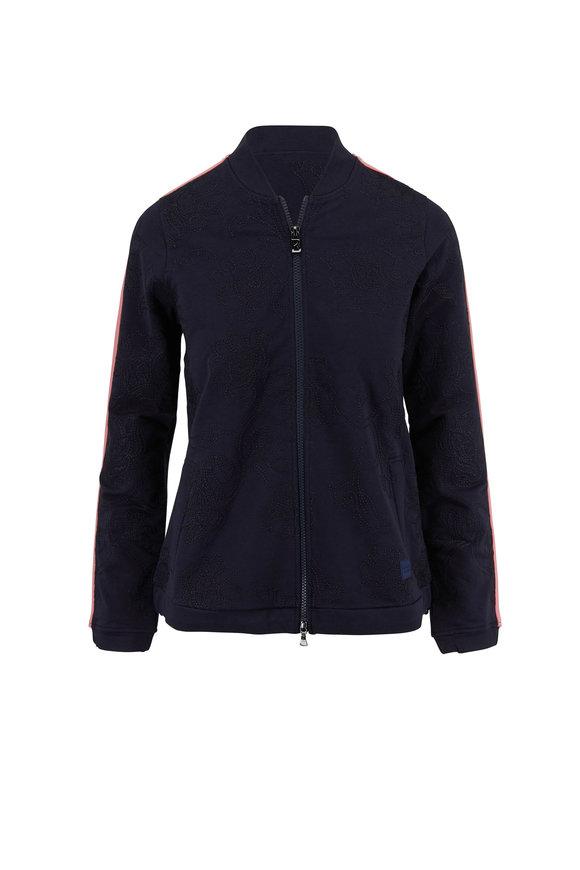 Bogner Navy Blue Striped-Trim Knit Jacket