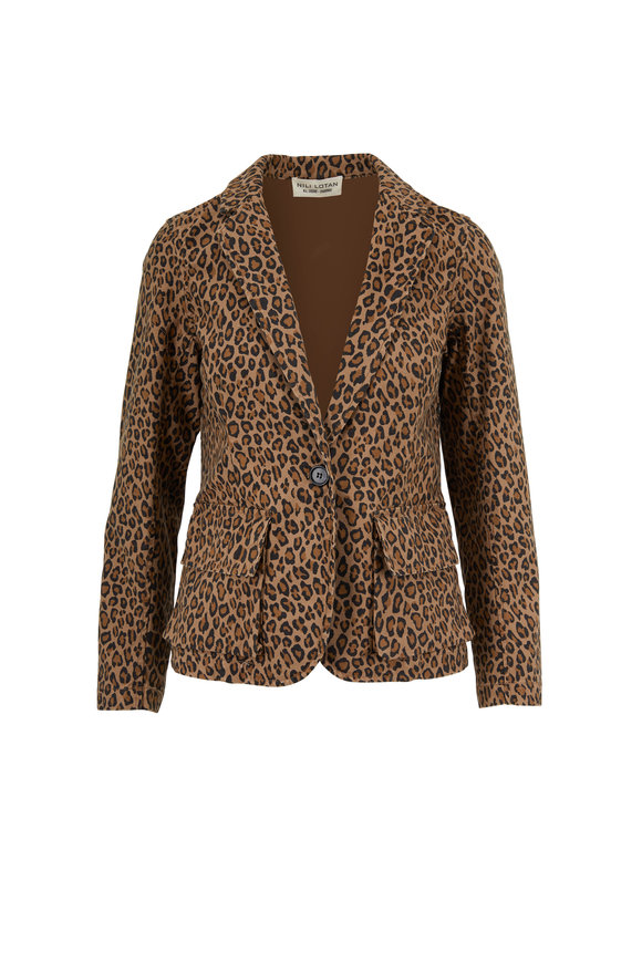 Nili Lotan Addison Leopard Print Cotton Canvas Blazer