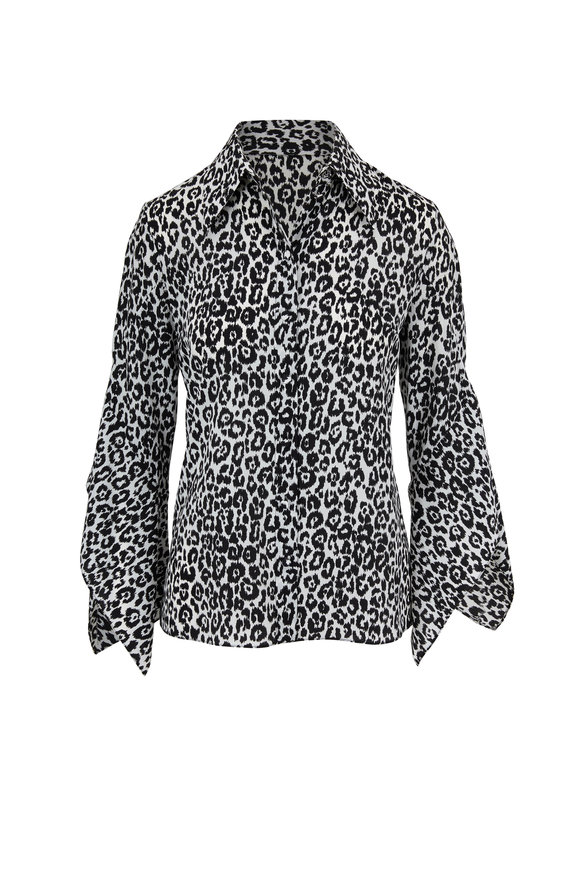 Michael Kors Collection Cheetah Print Silk Georgette Drape Sleeve Blouse