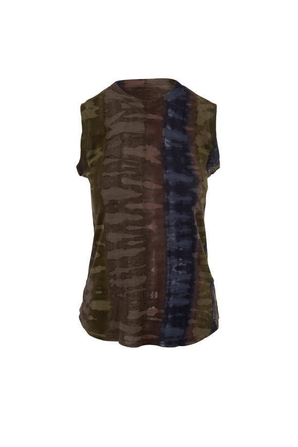 Raquel Allegra Brown Tie Dye Cotton Sleeveless Top