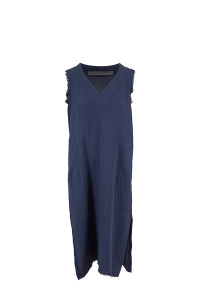 Raquel Allegra - Luna Dusty Blue Cotton Gauze Sleeveless Dress
