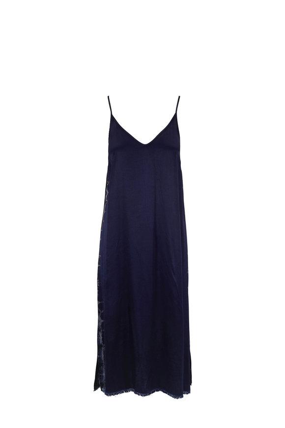 Raquel Allegra Indigo Satin Little Slip Dress
