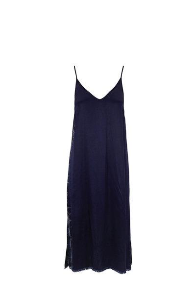 Raquel Allegra - Indigo Satin Little Slip Dress