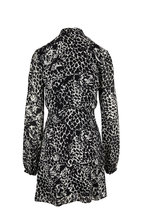 Saint Laurent - Black & White Lavallière Leopard Head Print Dress