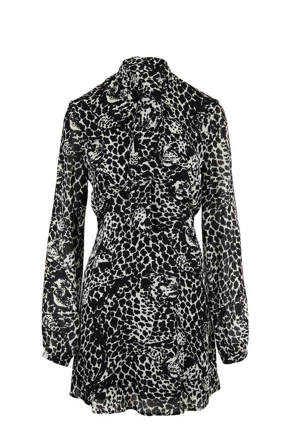 Saint Laurent Black & White Lavallière Leopard Head Print Dress