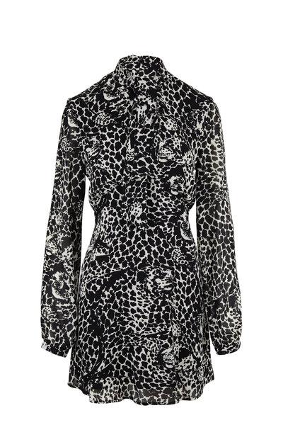 Saint Laurent - Black & White Lavallière Leopard Head Print Dress