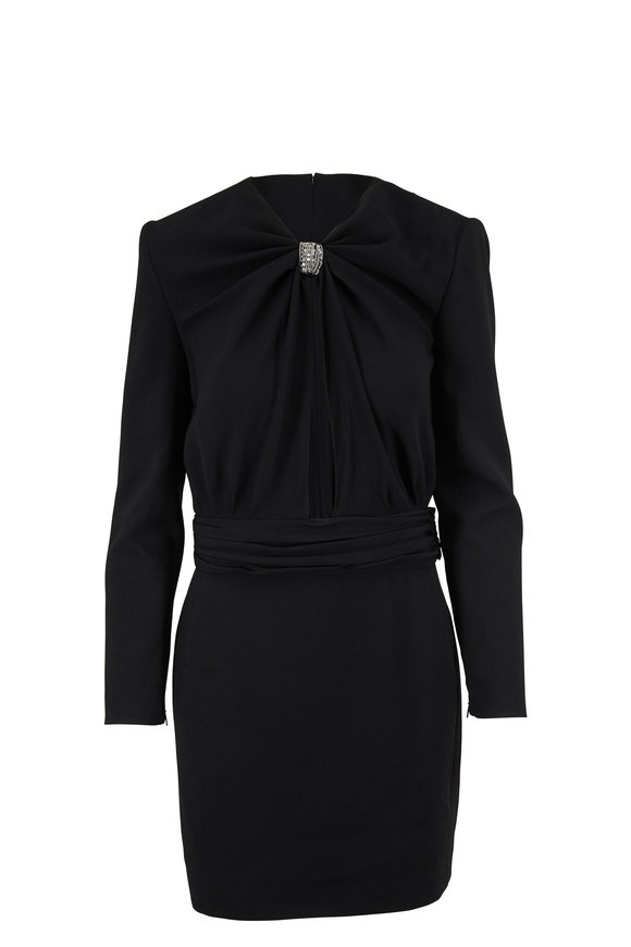 Saint Laurent Black Sable Ruched Neck Long Sleeve Dress