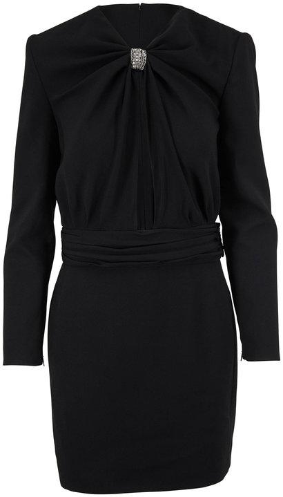 Saint Laurent Black Sable Ruched Neck Long Sleeve Dress