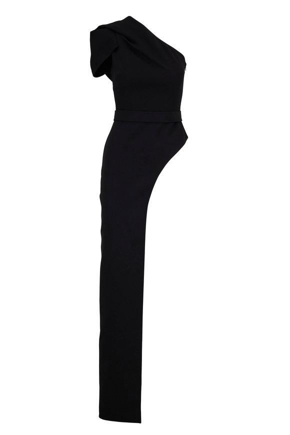 Safiyaa Black One Shoulder Asymmetric Hem Top