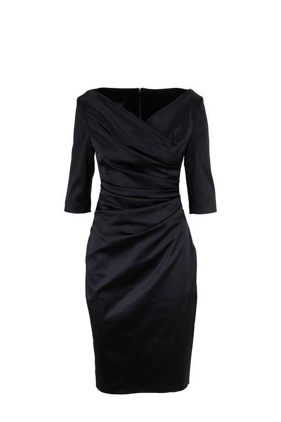 Talbot Runhof Komoe3 Black Elbow Sleeve Ruched Dress