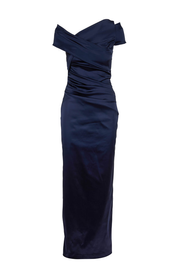 Talbot Runhof Moa2 Navy Blue Wrap Cap-Sleeve Gown