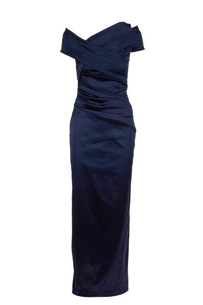 Talbot Runhof - Moa2 Navy Blue Wrap Cap-Sleeve Gown