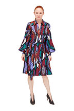 Carolina Herrera - Multicolor Feather Print Belted Shirtdress