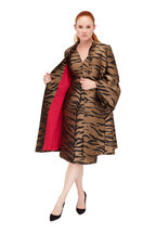 Carolina Herrera - Tiger Print Taffeta V-Neck Dress