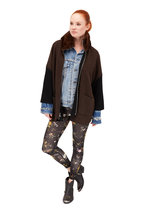 Rani Arabella - Black & Brown Cashmere Reversible Zip Cardigan