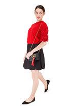 Valentino Garavani - VRing Black & Red Leather Mini Chain Crossbody