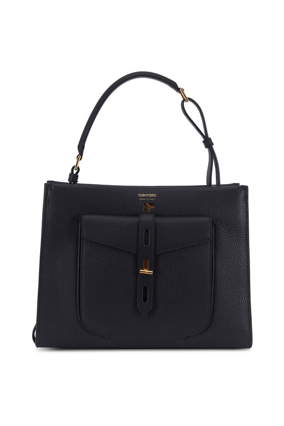 Tom Ford Hollywood Black Leather Small Top Handle Bag