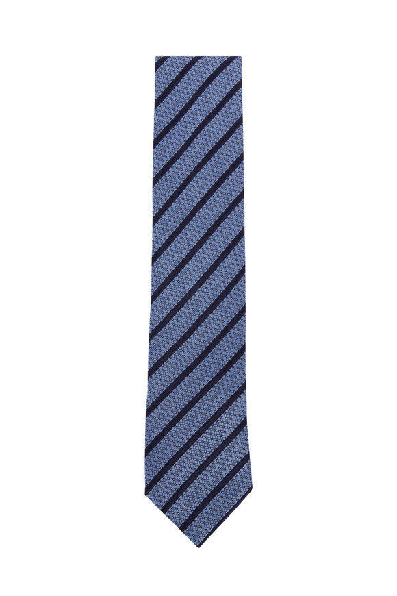 Ermenegildo Zegna Medium Blue & Navy Diagonal Striped Silk Necktie