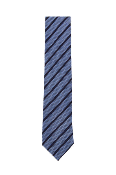 Ermenegildo Zegna - Medium Blue & Navy Diagonal Striped Silk Necktie