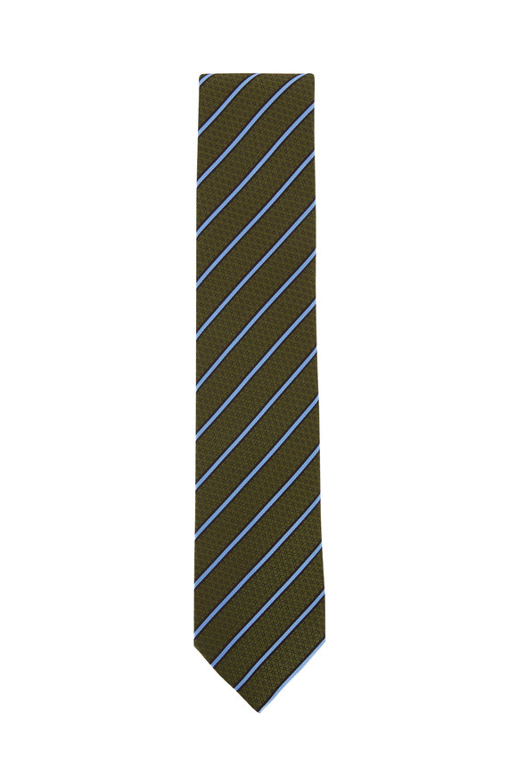Ermenegildo Zegna Green & Blue Diagonal Striped Silk Necktie
