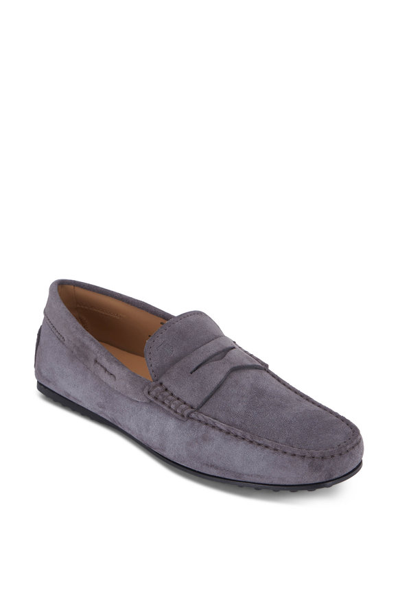 Tod's Gommino Gray Suede Penny Loafer