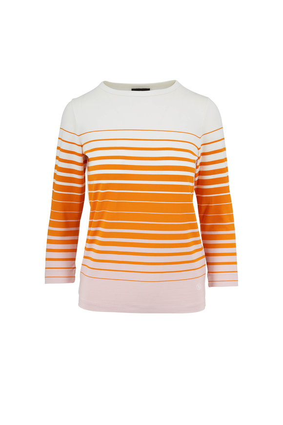 Bogner Molly Orange & Cream Striped Elbow-Sleeve Top