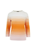 Bogner - Molly Orange & Cream Striped Elbow-Sleeve Top