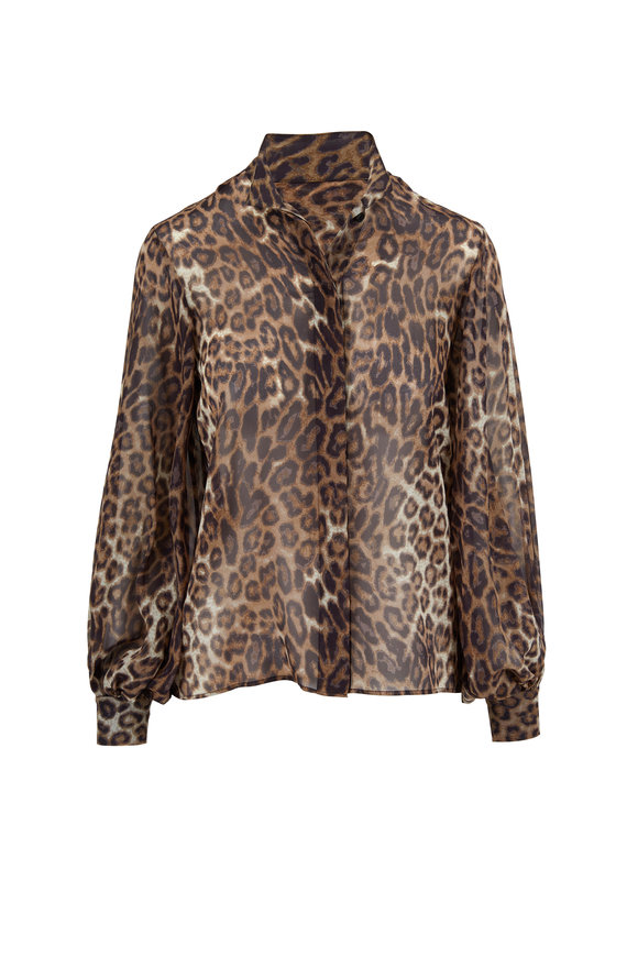 Nili Lotan Evelyn Brown Leopard Print Chiffon Blouse