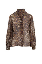 Nili Lotan - Evelyn Brown Leopard Print Chiffon Blouse