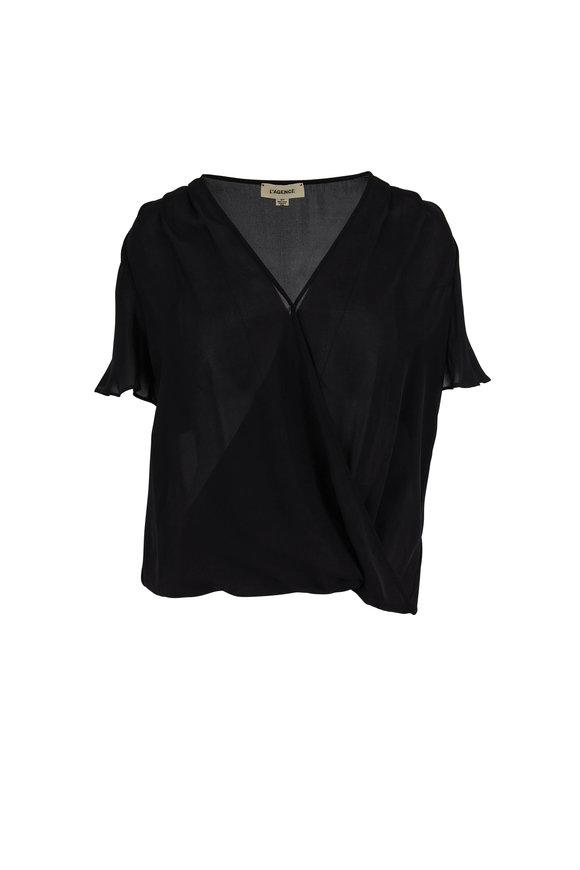 L'Agence Karen Black Silk Chiffon Flutter Sleeve Blouse
