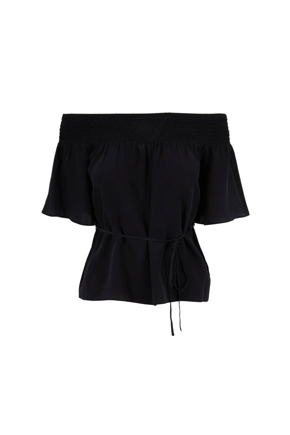 L'Agence Lucia Black Silk Off-The-Shoulder Blouse
