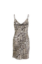 L'Agence - Elora Natural Python Print Satin Silk Slip Dress