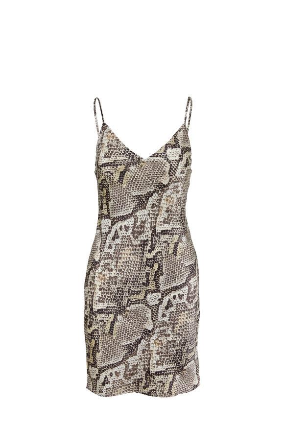 L'Agence Elora Natural Python Print Satin Silk Slip Dress