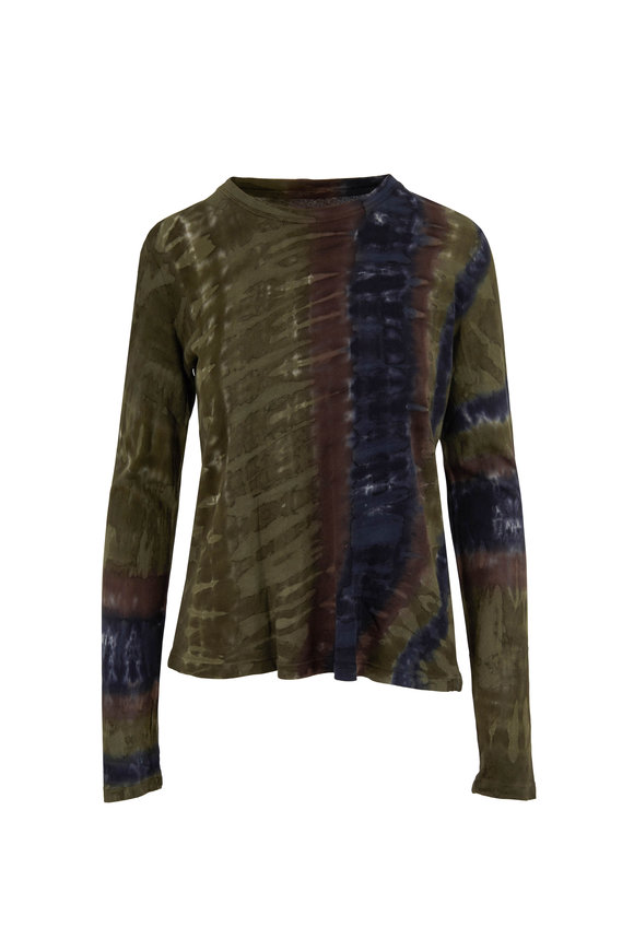 Raquel Allegra Forest Green Tie-Dye Long Sleeve Top